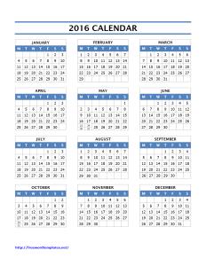 2016 Year Calendar Template - Word