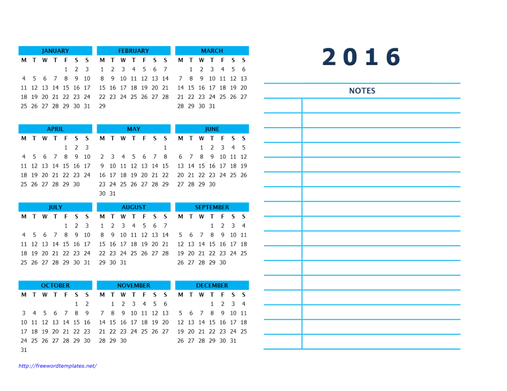 2016 Year Calendar with Side Notes 2 - Landscape