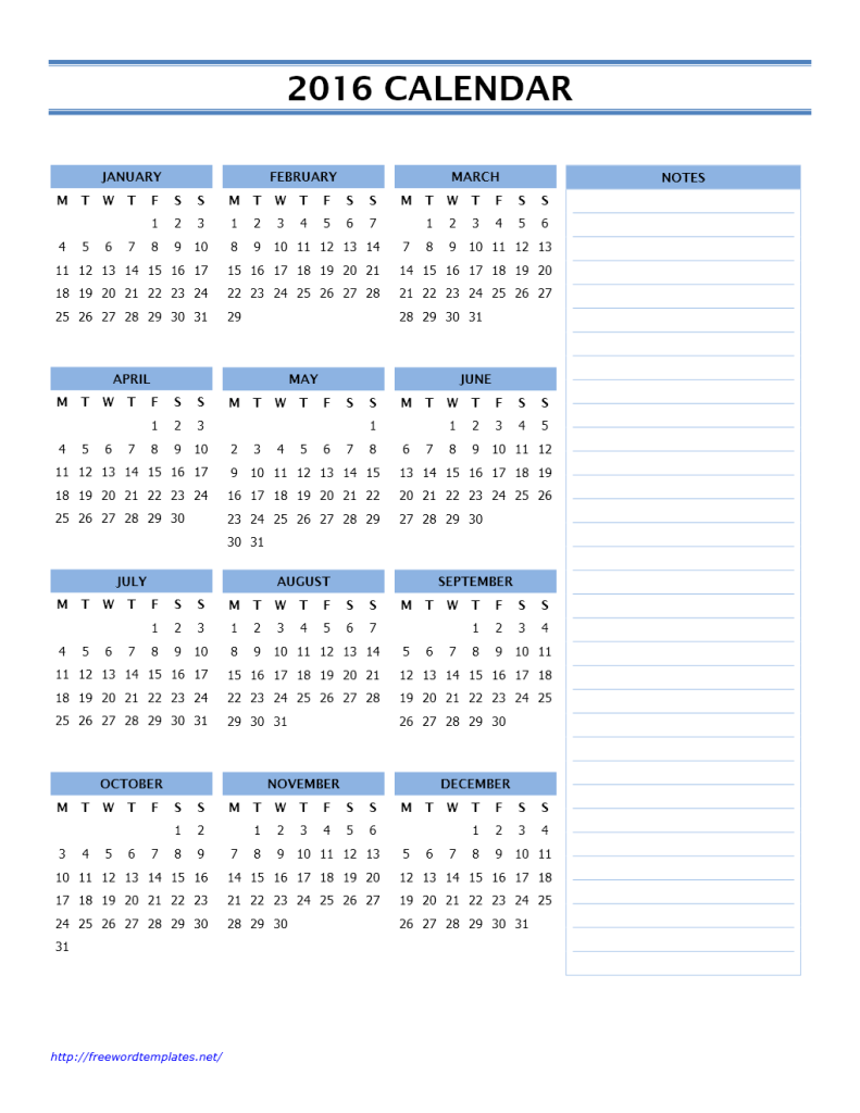 2016 Year Calendar with Side Notes - Portrait