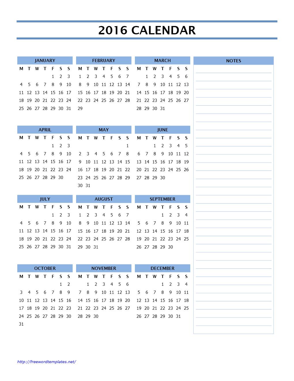 2016 Calendar Templates – Calendar Templates in Word