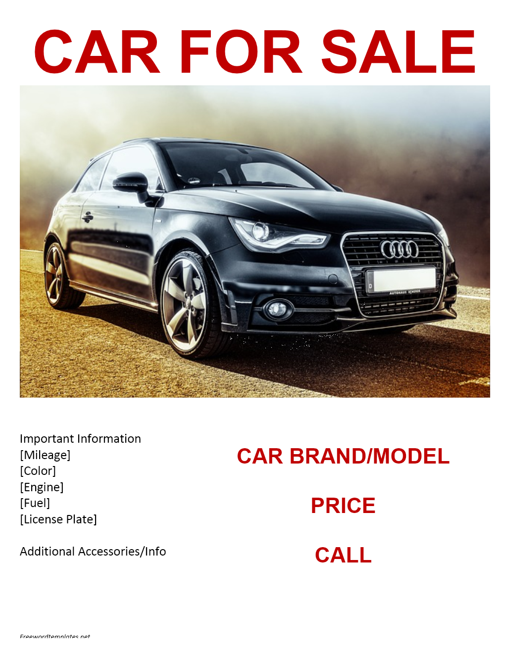 Car for Sale Template for Word