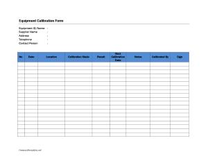 Equipment Calibration Form