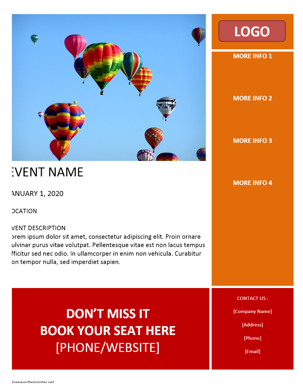 Event flyer template for Free microsoft word brochure templates