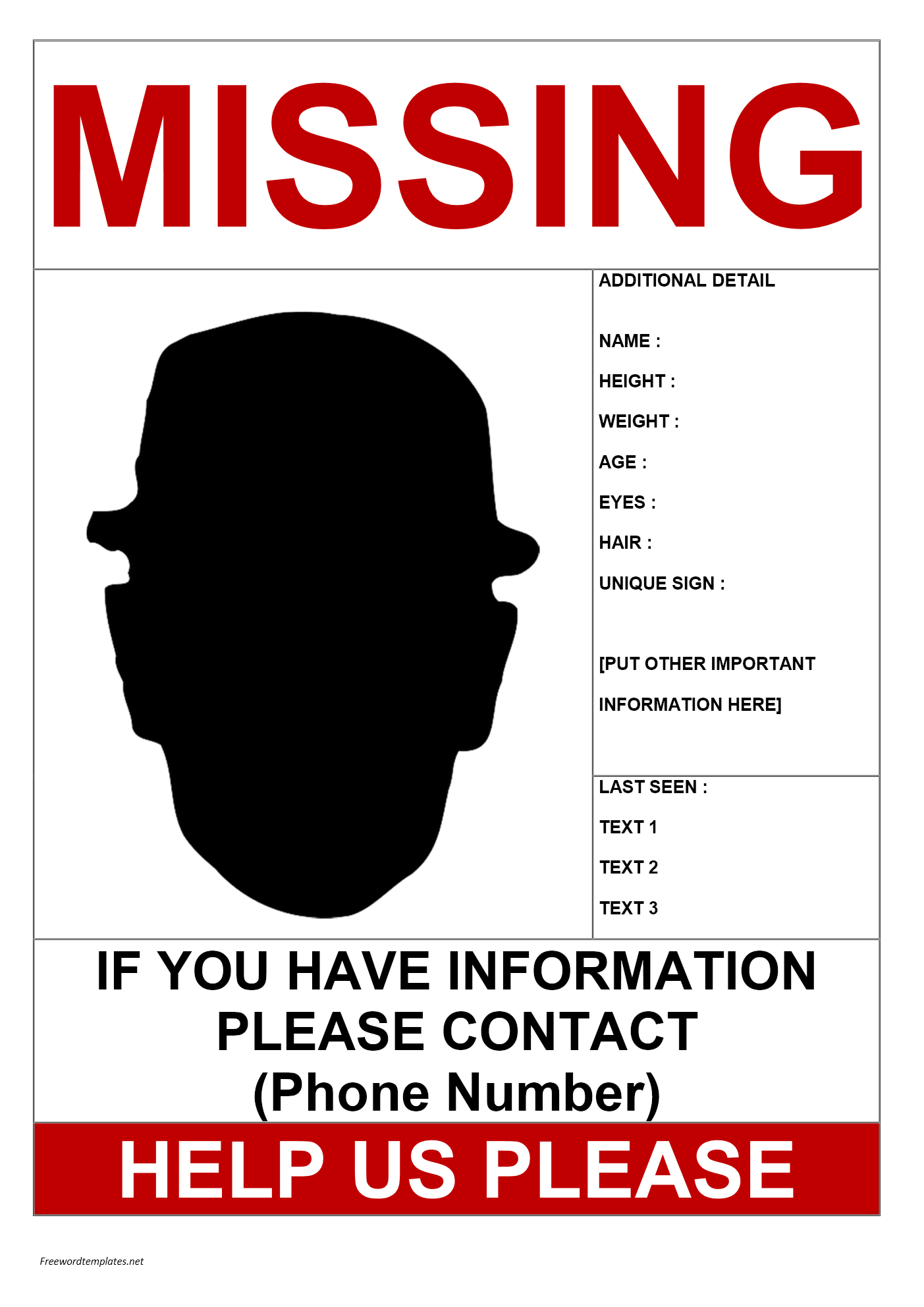 Missing Person Template Microsoft Word