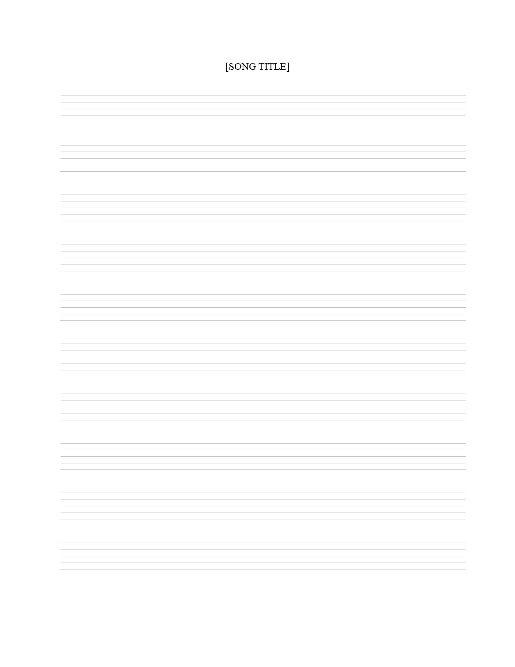 Music Staff Sheet Template - 10 lines