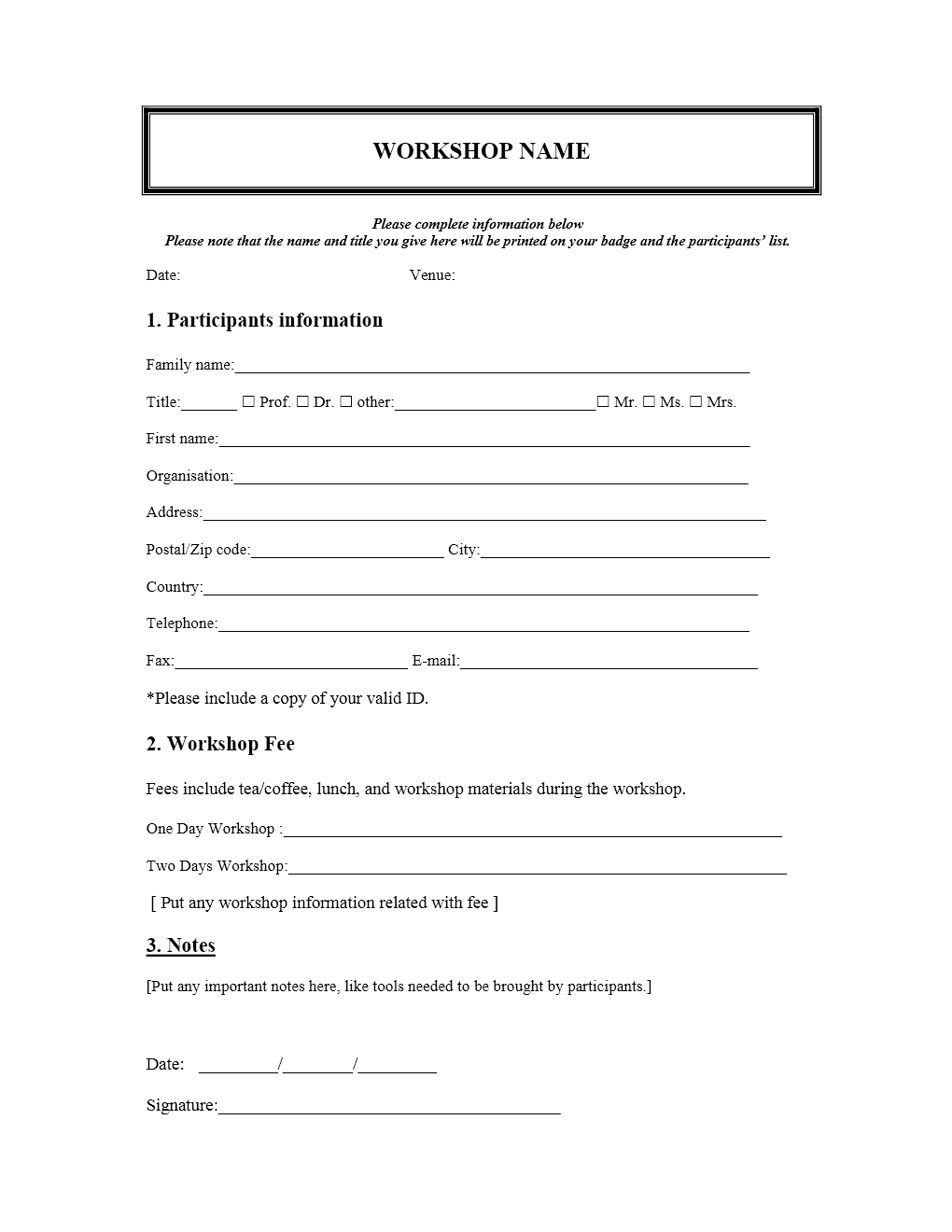 Workshop registration form for Document register template free
