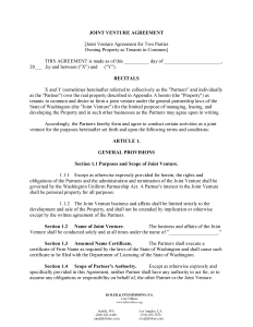 Joint Venture Agreement Template for Word
