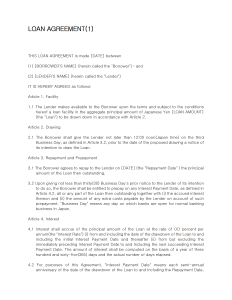 Loan Agreement Template for Word