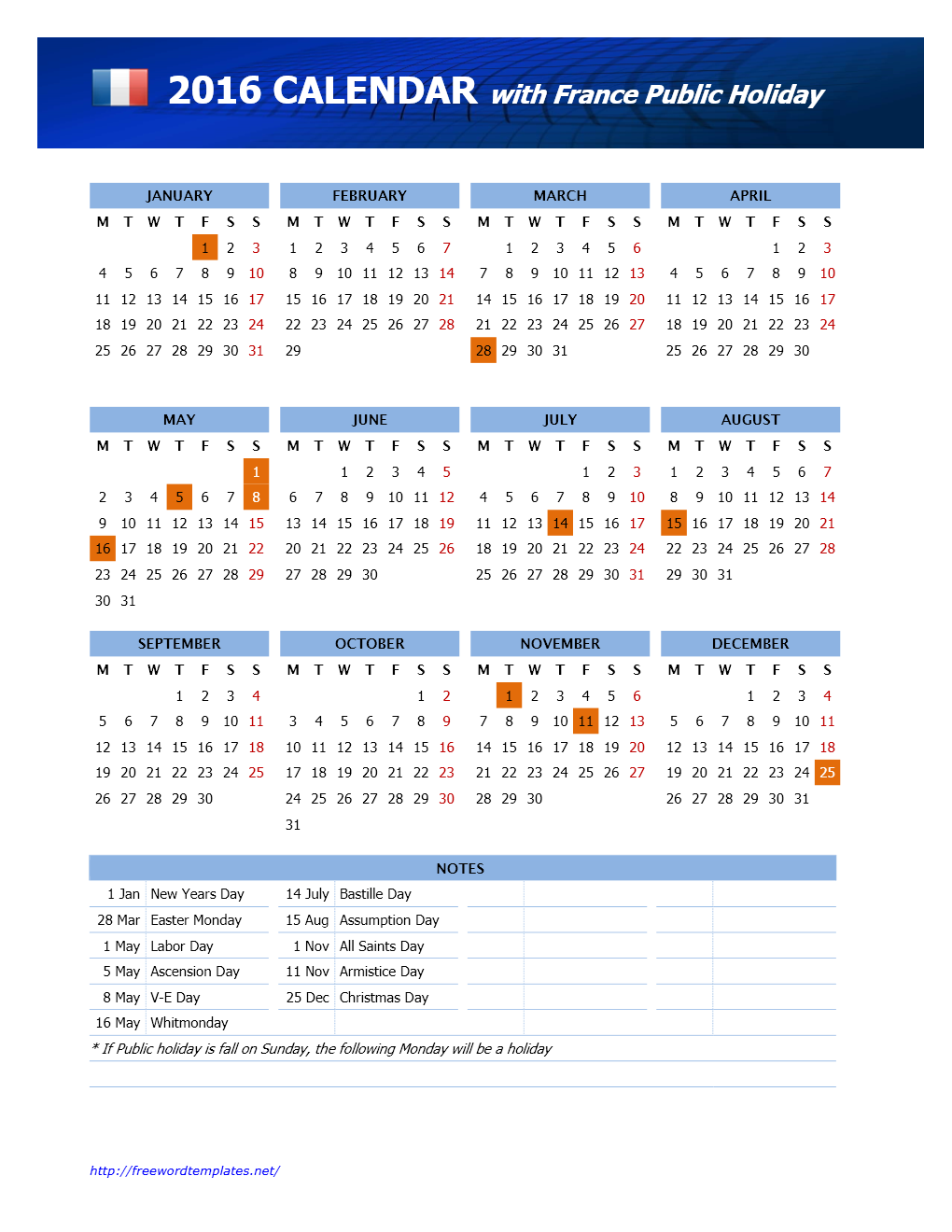 2016 France Public Holidays Calendar Template for Word