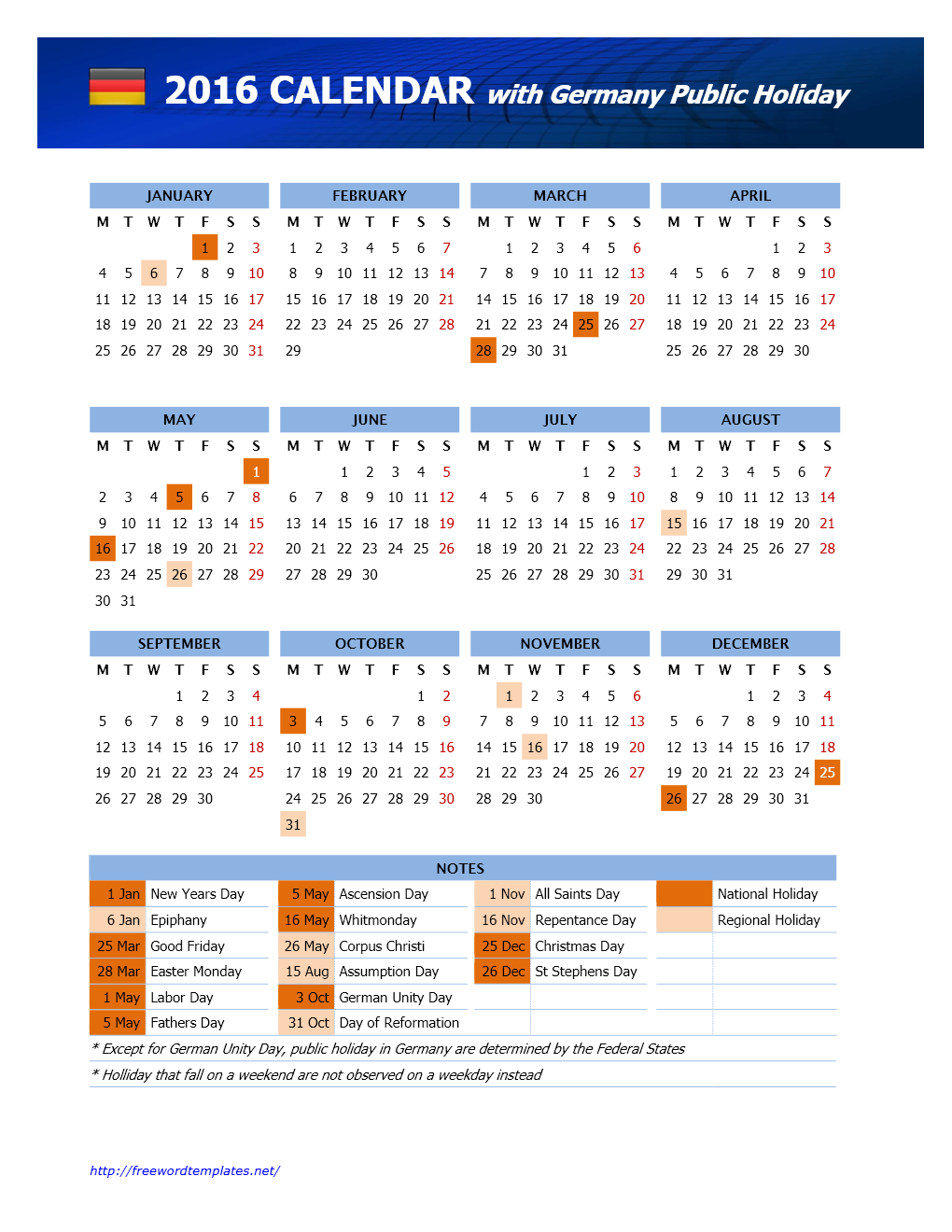 2016 Germany Public Holidays Calendar for Word