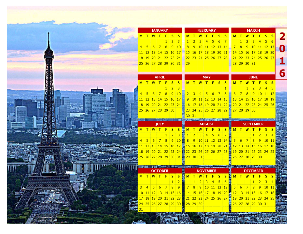 2016 Photo Calendar Model 5