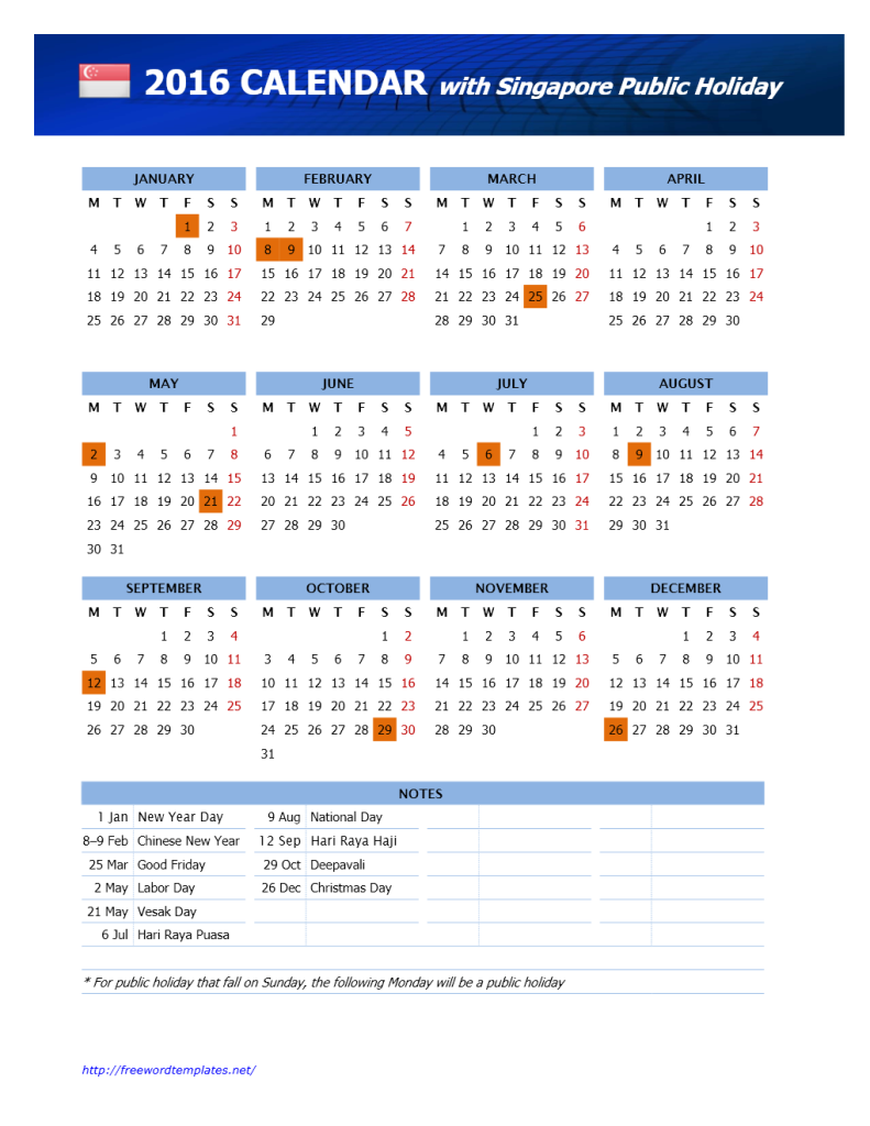 2016 Singapore Public Holidays Calendar | Freewordtemplates.net