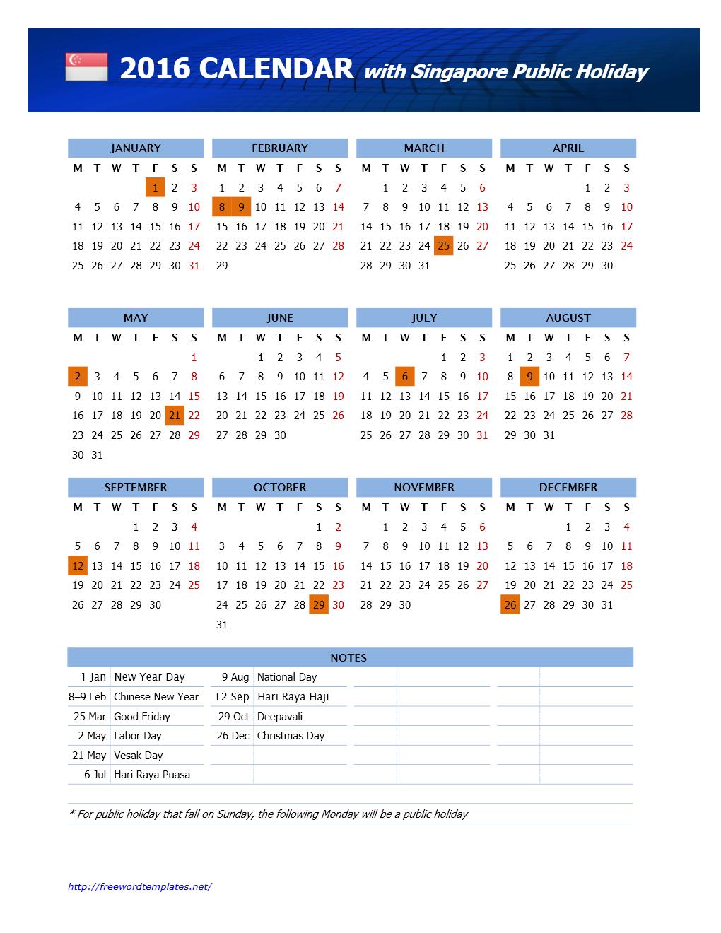 2016 singapore public holidays calendar freewordtemplates net