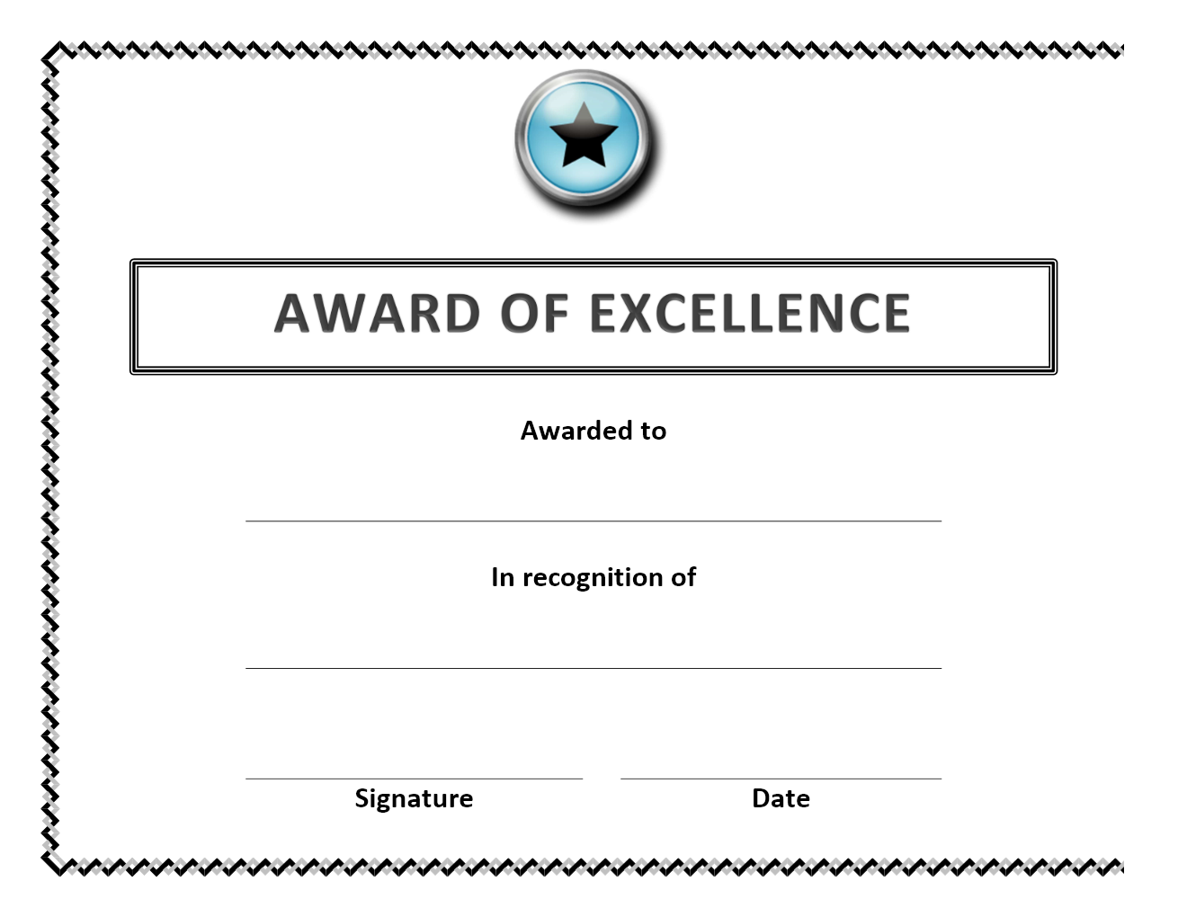 certificate wordtemplates net award of excellence certificate