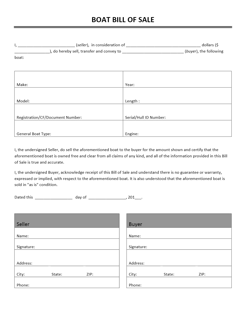 Freewordtemplates.net  Bill Of Sale Template For Boat