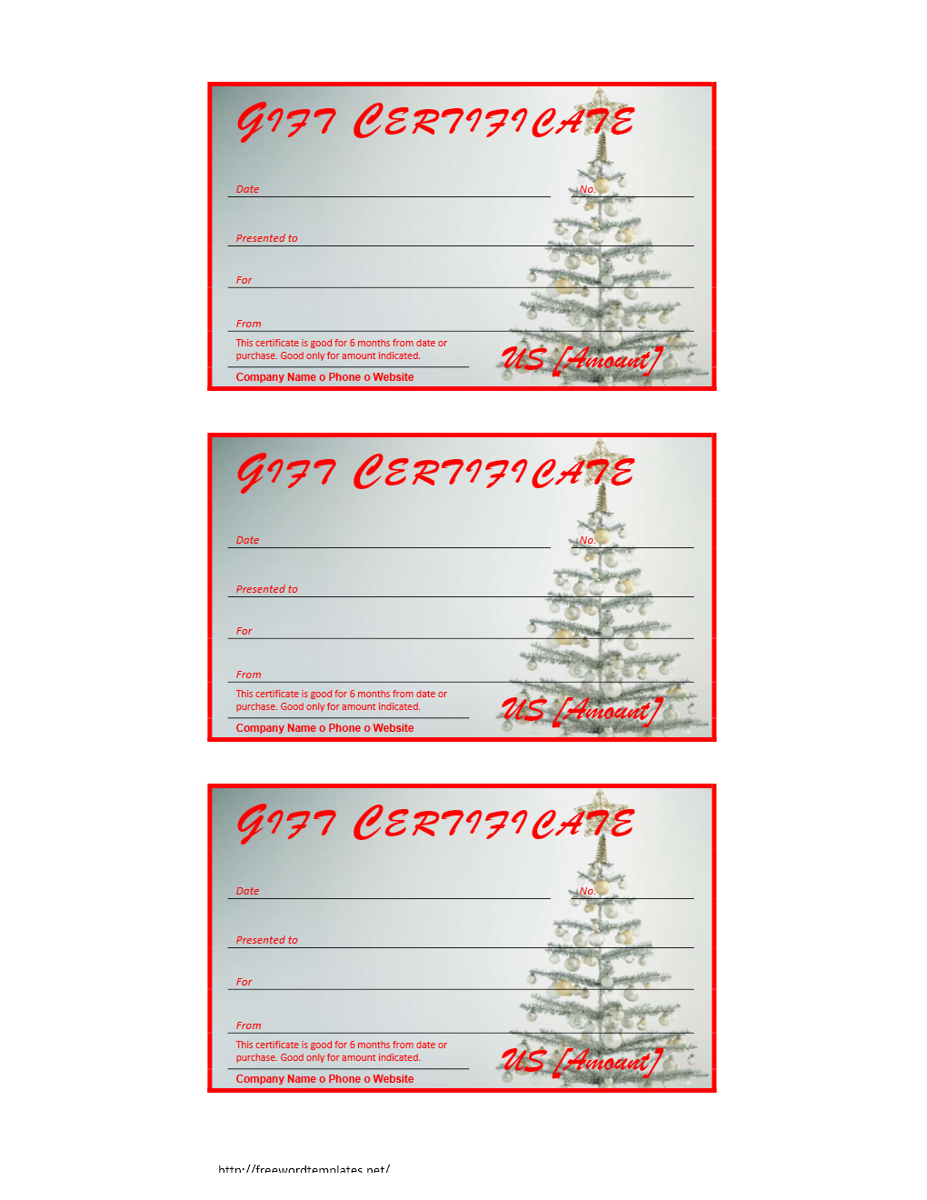 Certificate Wordtemplates Net Christmas Gift Certificate. Printable  Birthday Certificate Templates