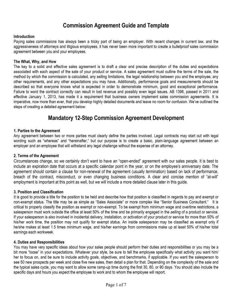 Sales commission agreement template for Commission only contract template