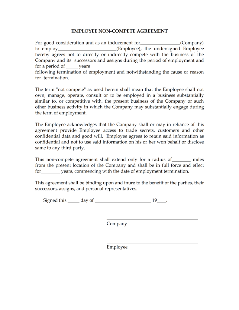 Non compete agreement tempalte for Tuition contract template