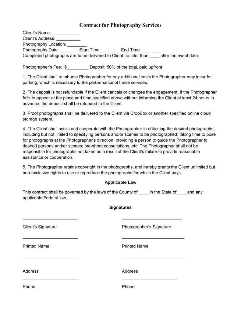Photography contract template for Photographer contracts templates