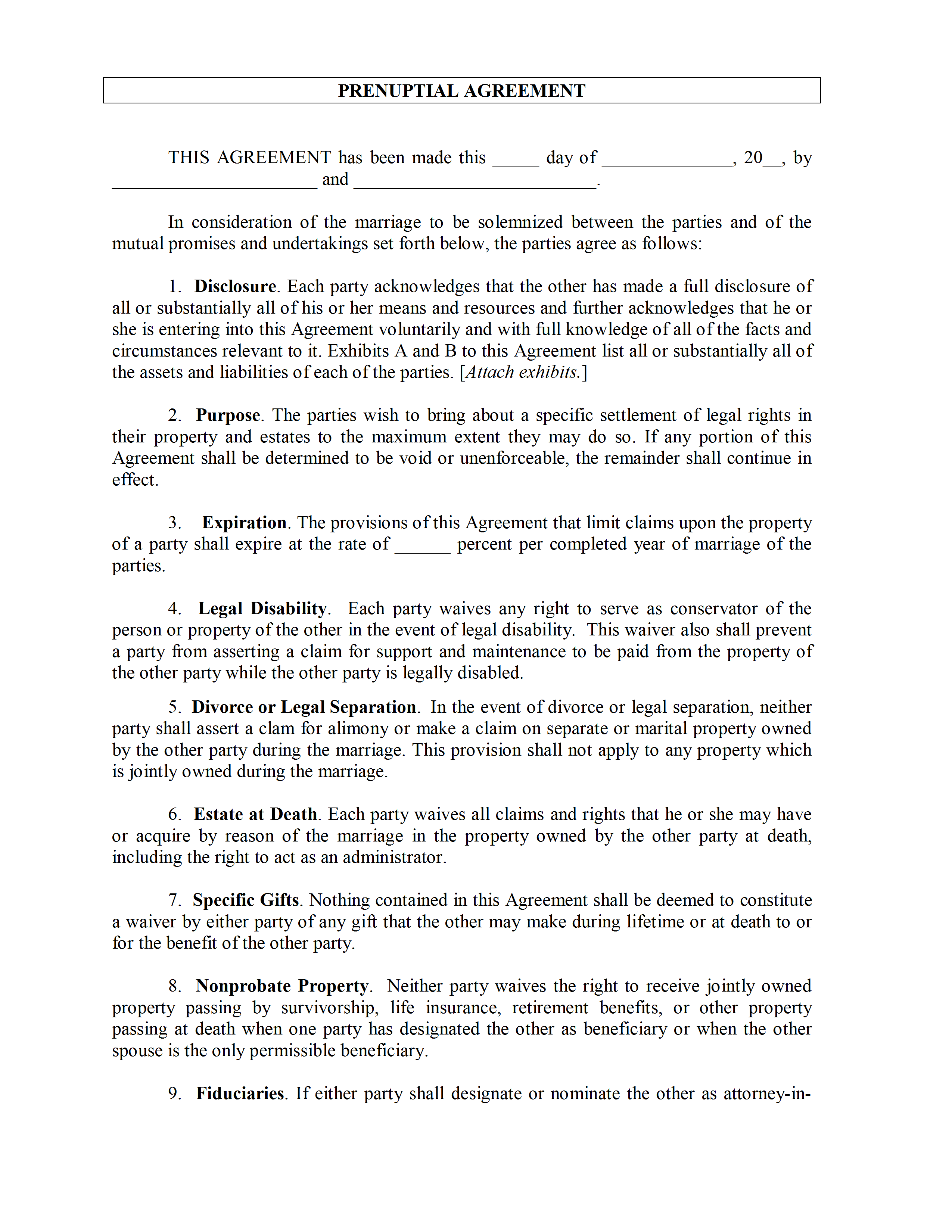 Prenuptial Agreement Template – Sample Prenuptial Agreement Template