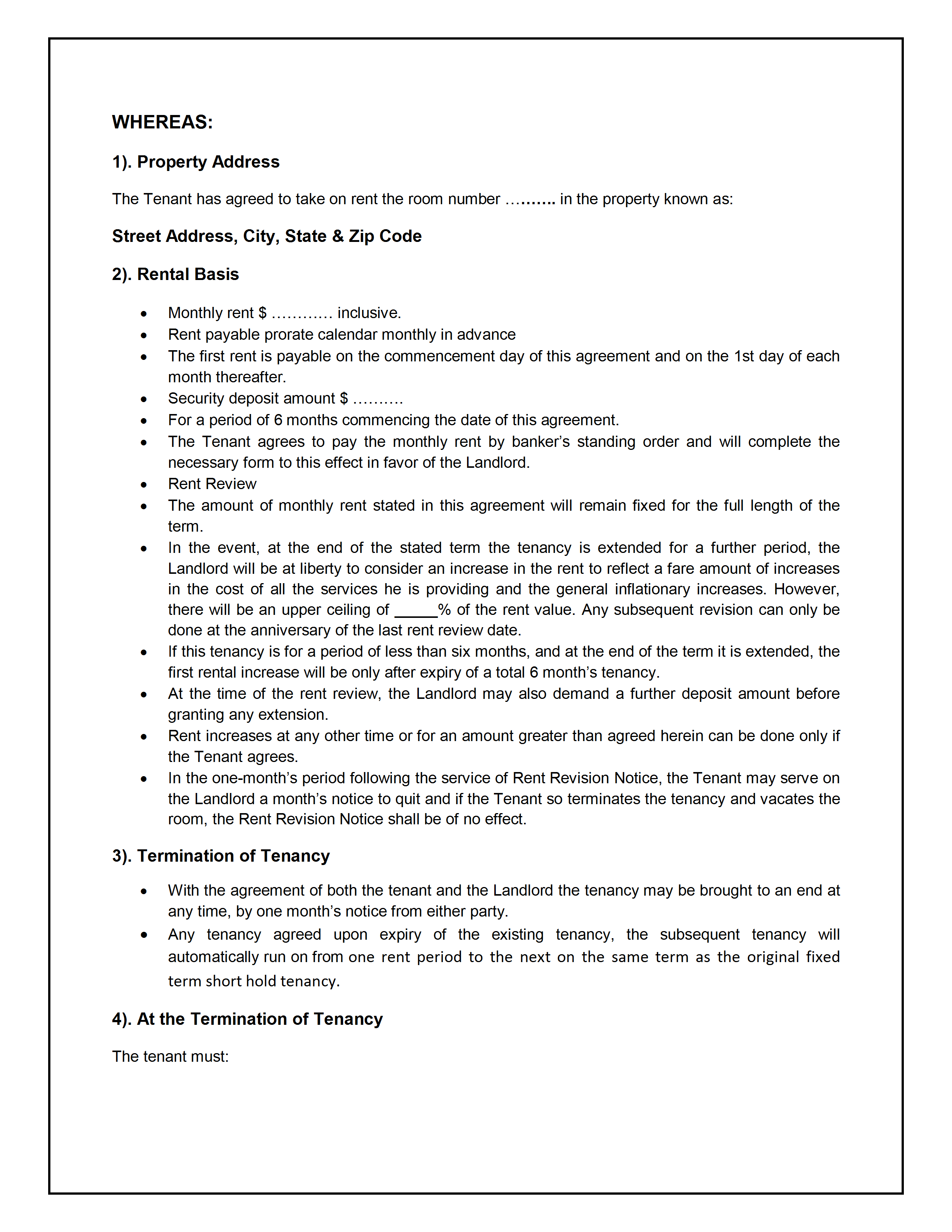 Tenancy agreement template for Landlords contract template