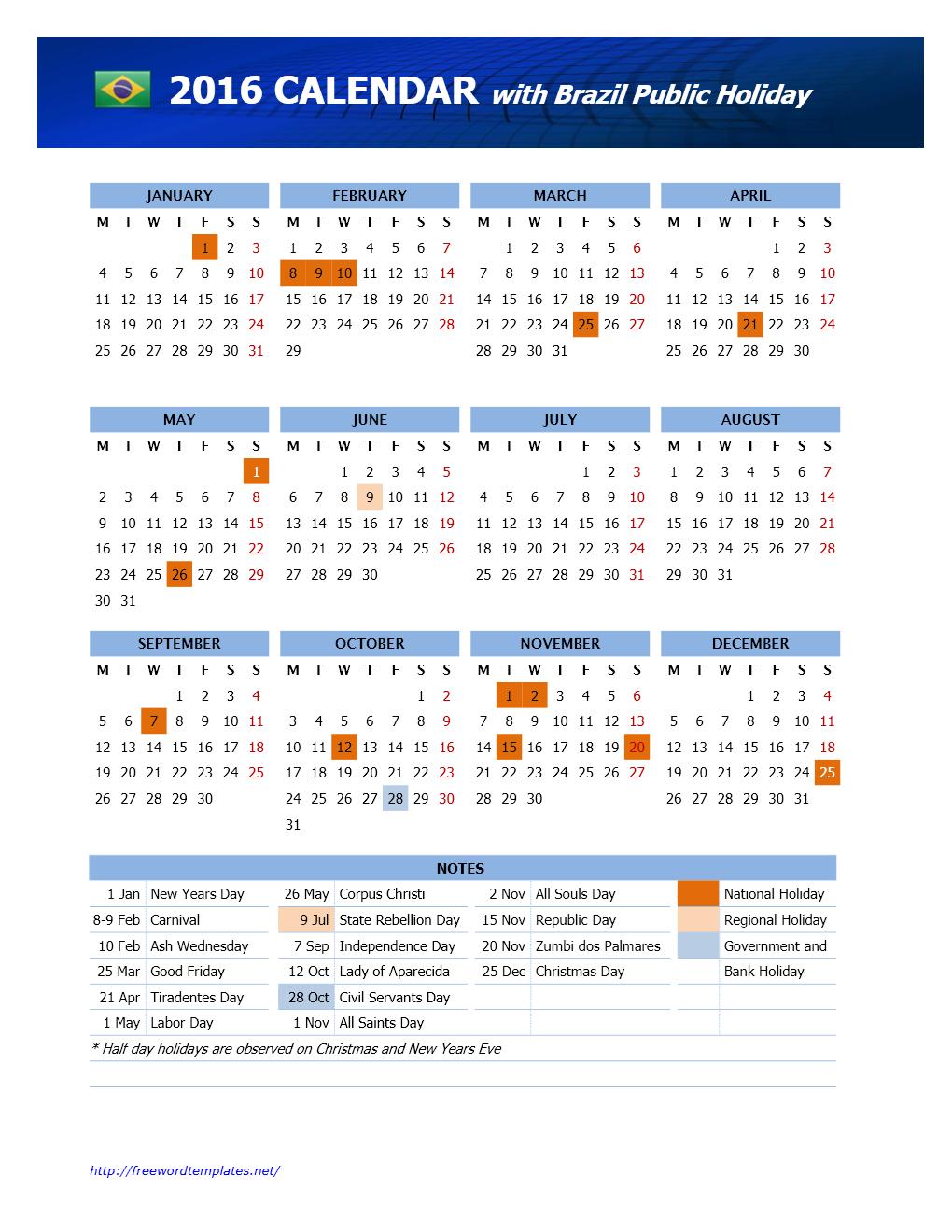 2016 Brazil Public Holidays Calendar