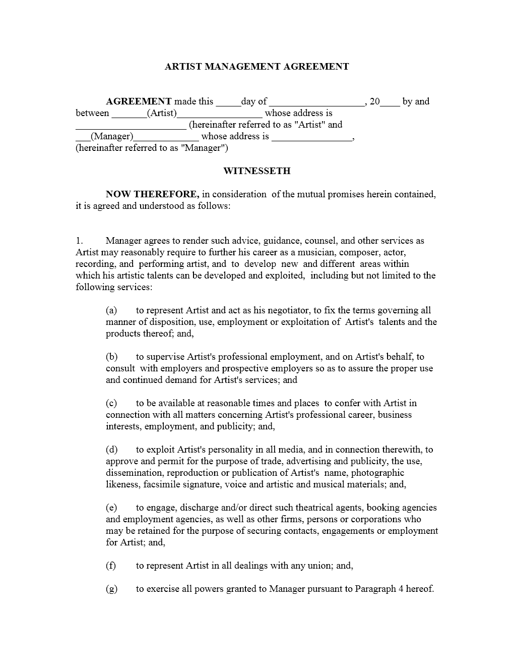 Artist Management Contract Template | Freewordtemplates.net