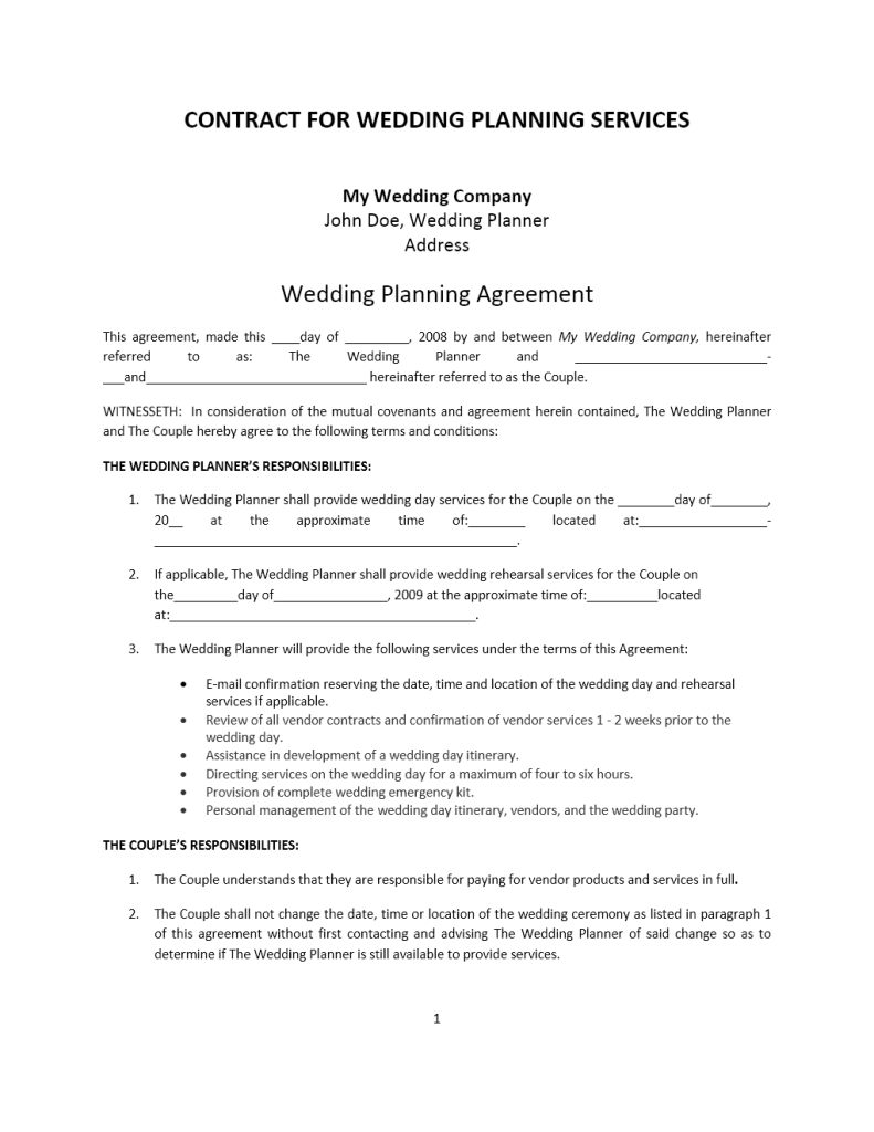 Wedding Planner Contract Template – Terms of Agreement Contract Template