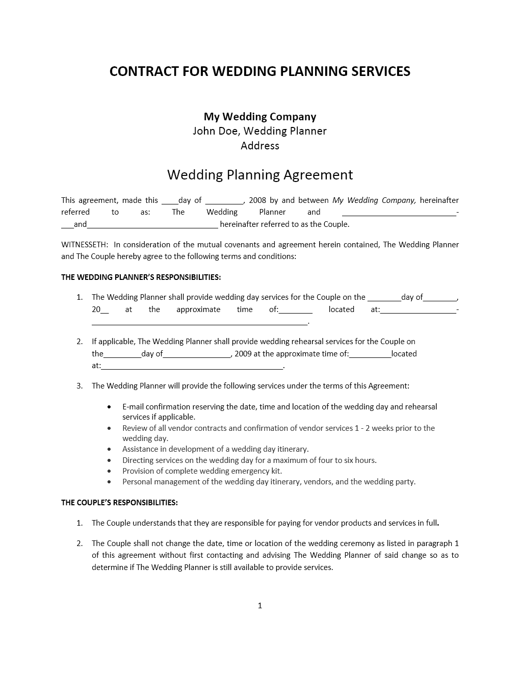 Wedding Planner Contract Template  Blank Construction Contract