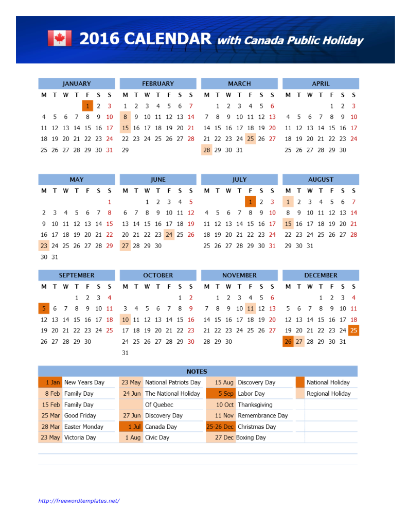 2016 canada calendar template word templates free word for 2015 calendar template with canadian holidays