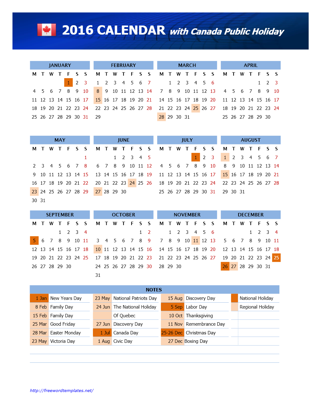 2016 canada public holidays calendar for 2015 calendar template with canadian holidays