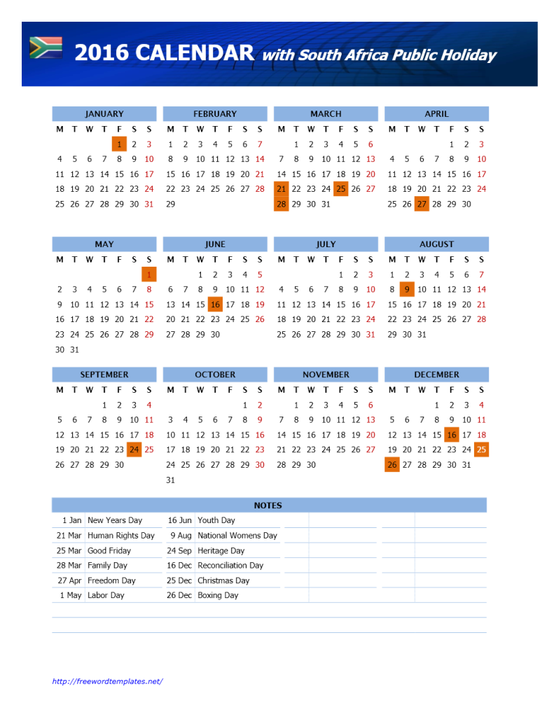 2016 South Africa Public Holidays Calendar