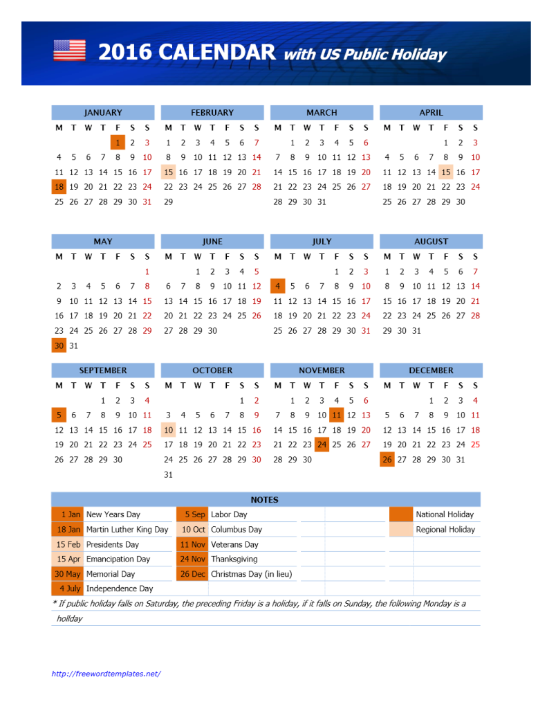 2016 USA Public Holidays Calendar | Freewordtemplates.net