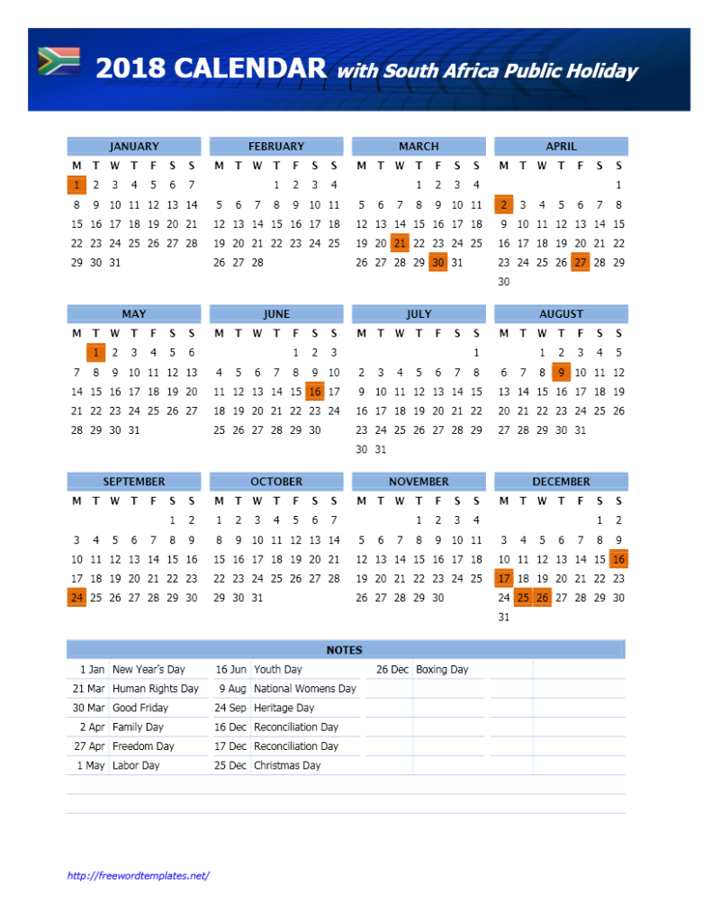 2018 South Africa Calendar with Public Holidays