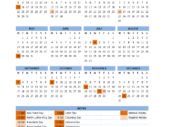 2018 US Calendar with Public Holidays