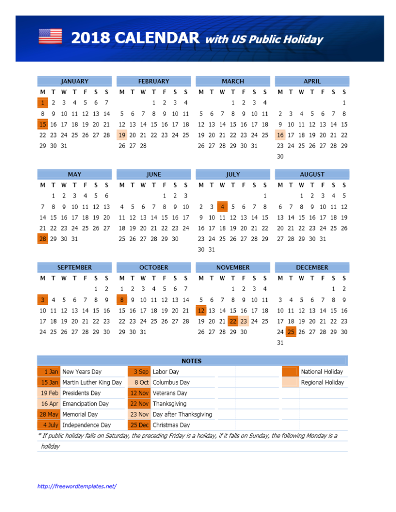 2018 US Calendar with Public Holidays