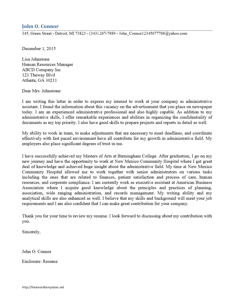 Administrative assistant cover letter for How to make a cover letter for administrative assistant