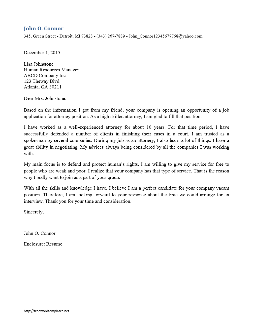 Attorney Cover Letter – Lawyer Resume Cover Letter