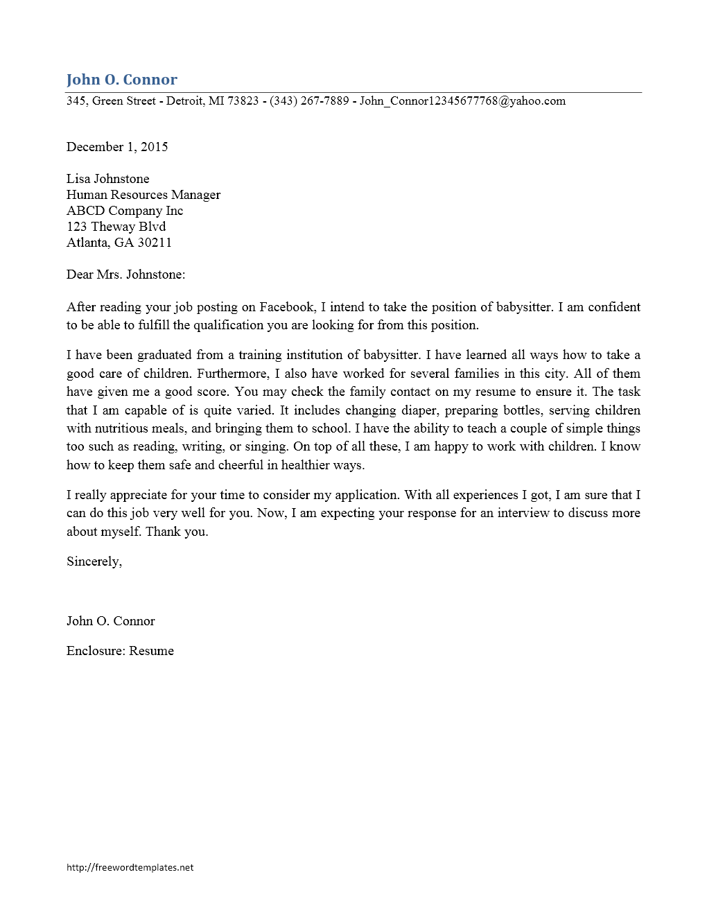 babysitter cover letter - Sample Cover Letter For Babysitting Job