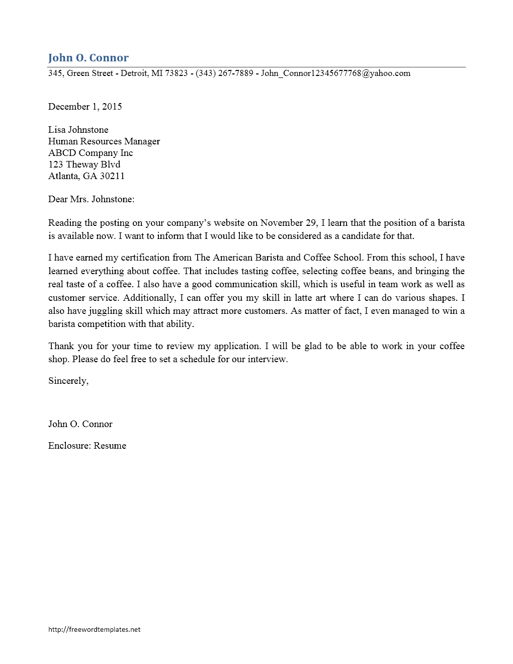 Barista Cover Letter Freewordtemplatesnet. Sample Cover Letter For ...