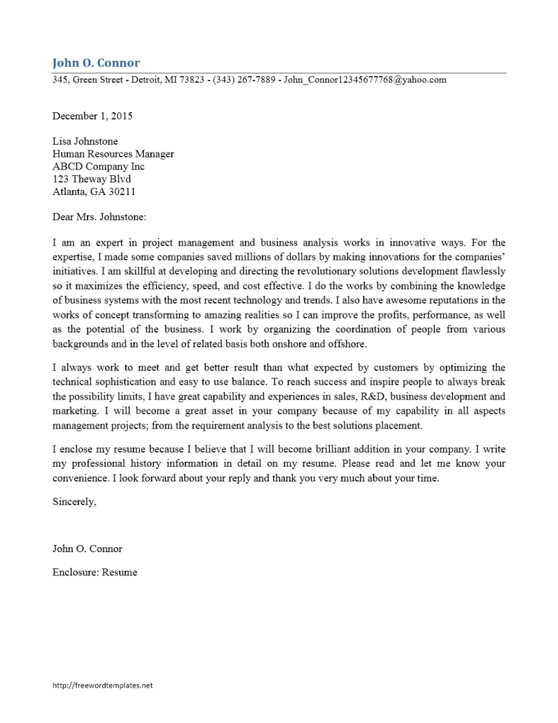 Cover Letter Template  - Business Analyst