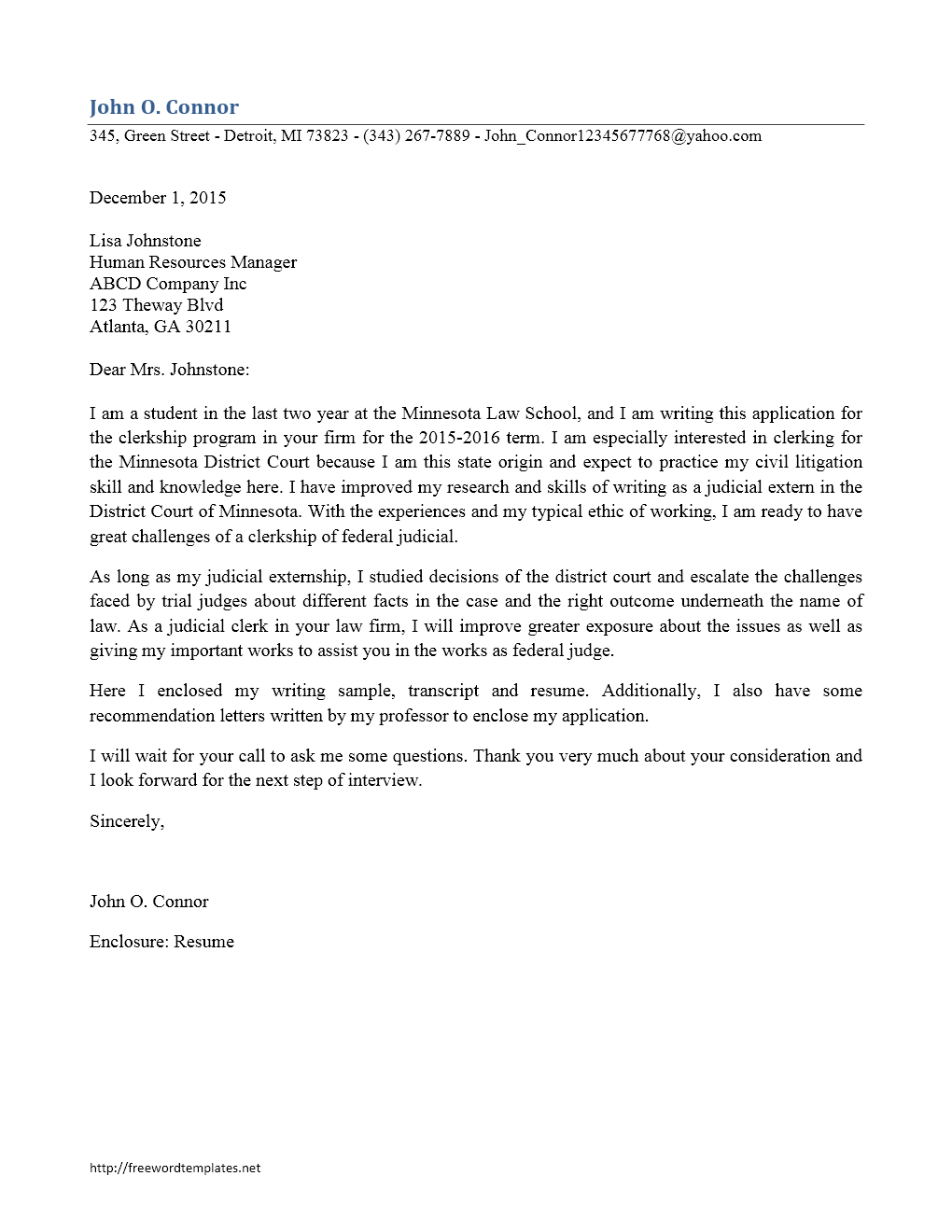 Cover Letter Template - Clerkship