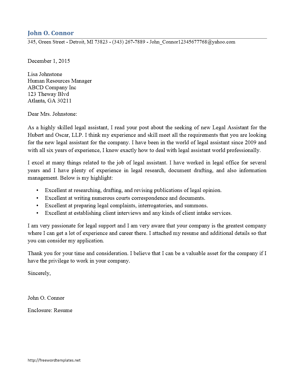 Cover Letter Template - Legal Assistant