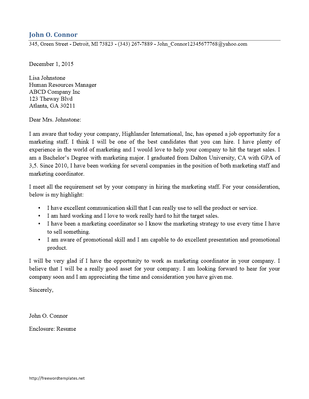 Cover Letter Template - Marketing Staff