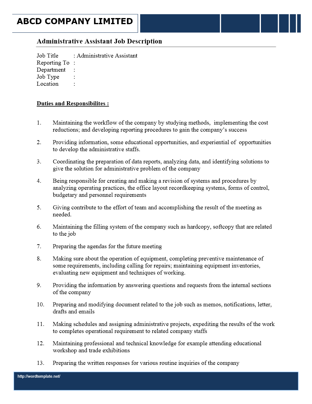 administrative assistant job description wordtemplates net job description administrative assistant