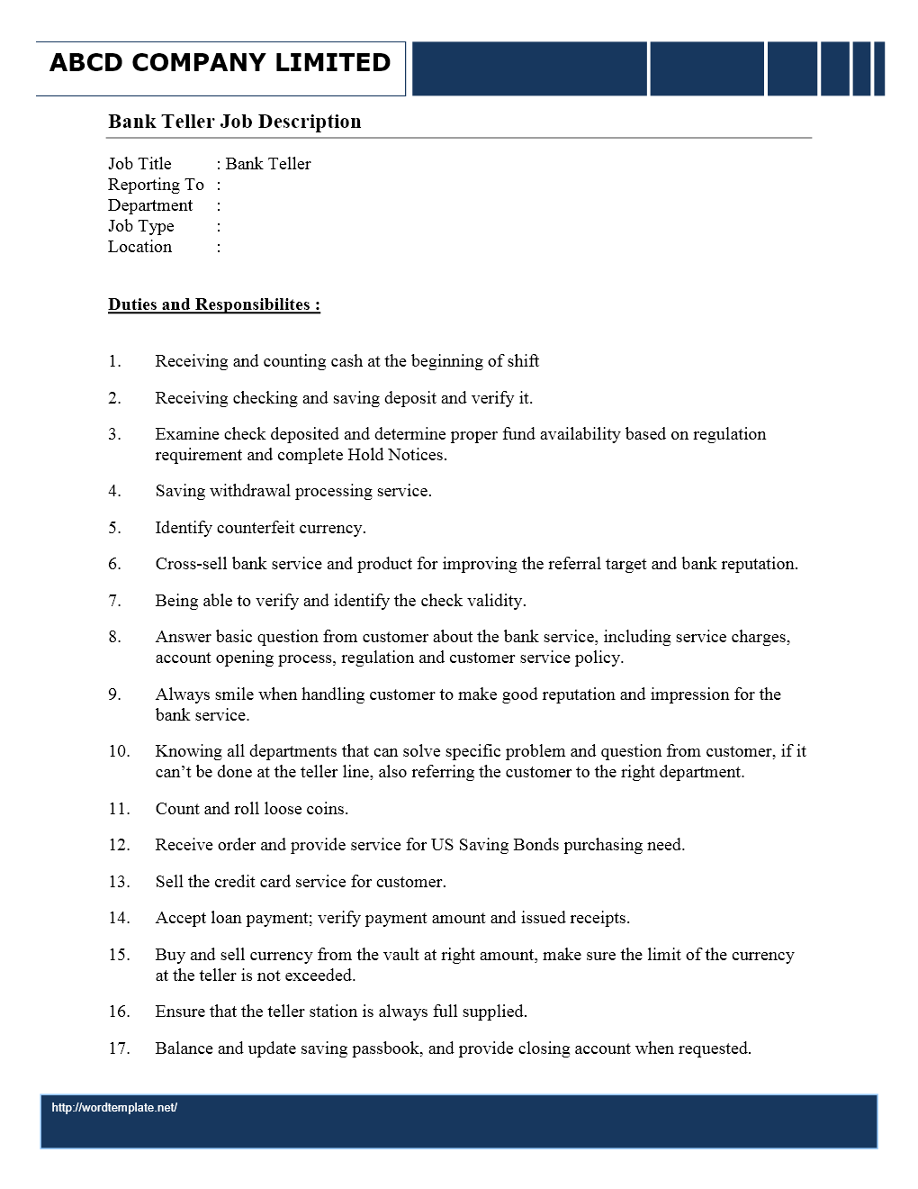 bank teller job description wordtemplates net job description bank teller