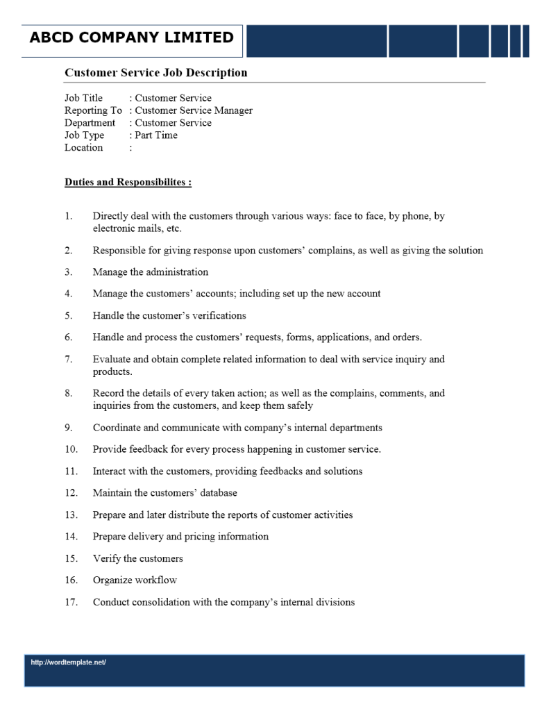 Job Description - Customer Service Representative