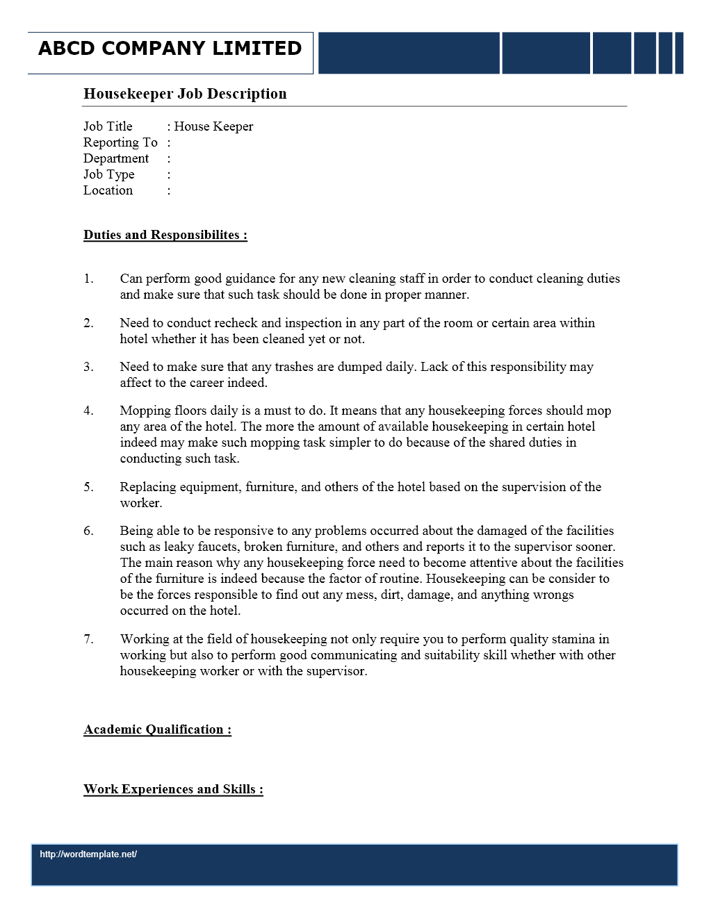 housekeeper job description wordtemplates net job description housekeeper