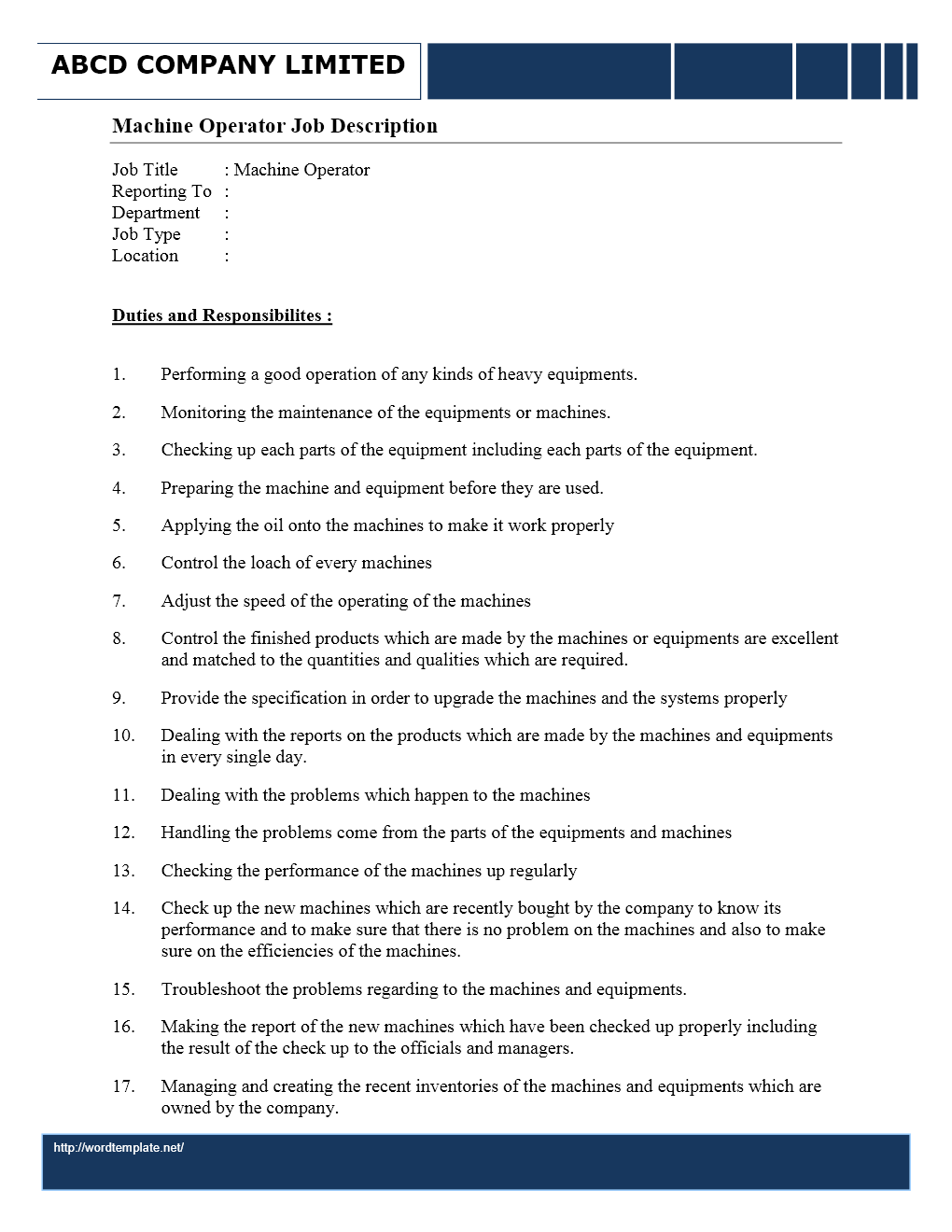 machine operator job description wordtemplates net job description machine operator
