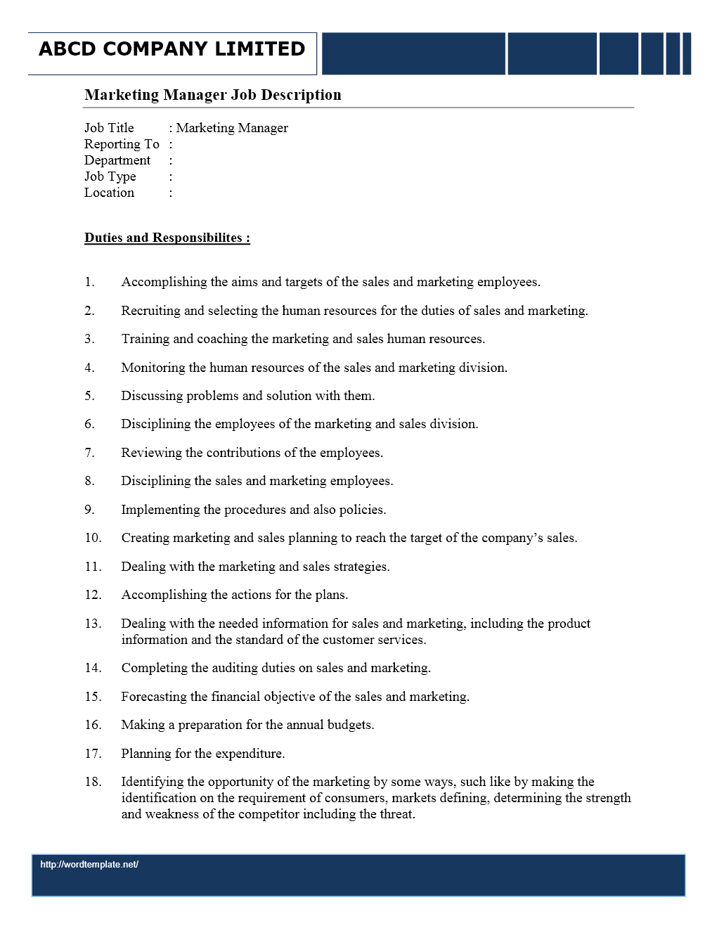 medical assistant job description wordtemplates net janitor job description middot marketing manager job description